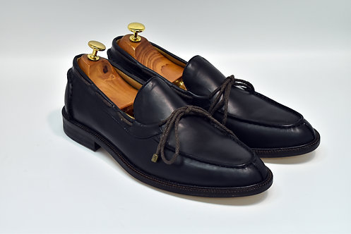 Black Calf Leather Boat Loafers H95