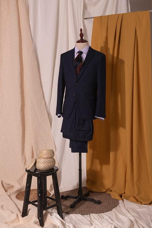 Navy dotstripe suit