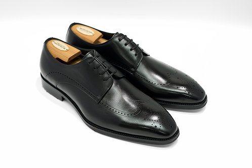 Black Calf Leather Wingtips Derby T02