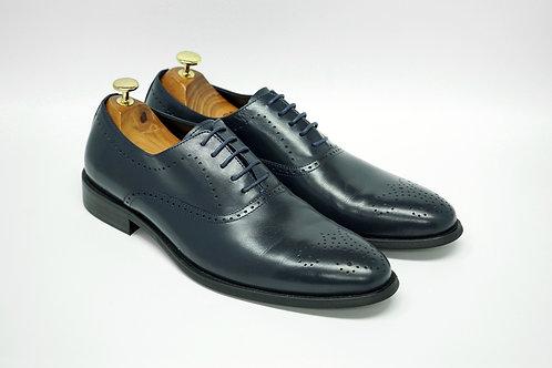 Navy Calf Leather Plain-toe Oxford