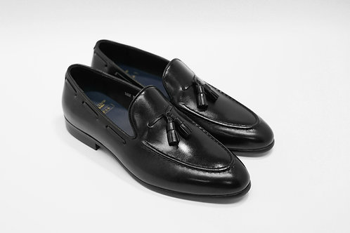 Ladies Black Calf Leather Tassels Loafers LO02