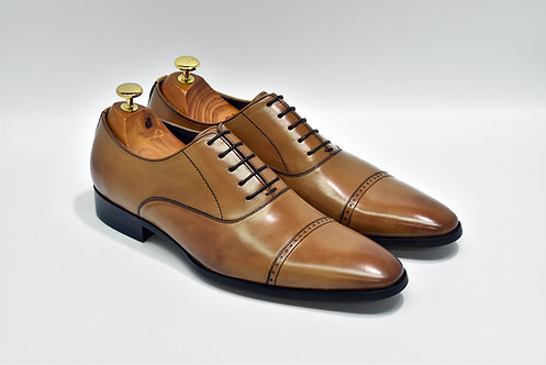 Brown Calf Leather Cap-toe Oxford P01