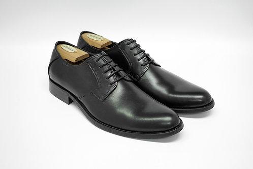 Black Calf Leather Plain-toe Blucher