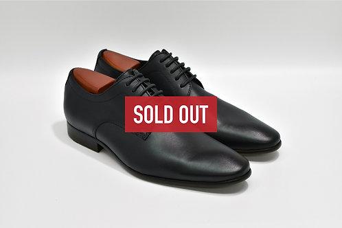 Black Soft Leather Plain-toe Derby