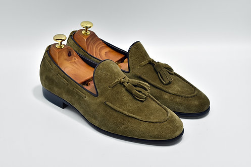 Khaki Unlined Suede Tassels Loafers Q07