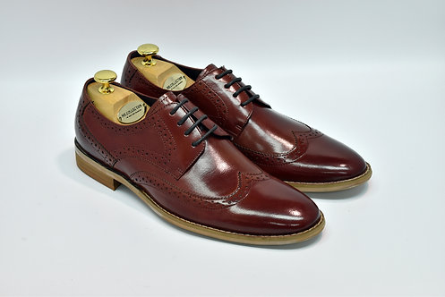 Wine Red Calf Leather Wingtip Derby K98