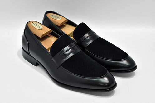 Black Mix Leather Penny Loafers R06