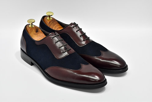 Maroon&Navy Mix Leather Wingtip Oxford