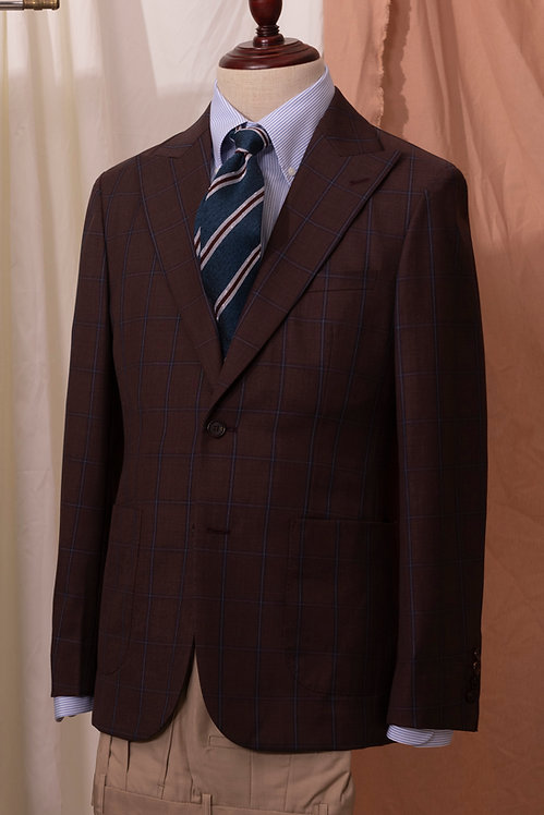 Dark Brown Windowpane Check Jacket & Beige Trousers