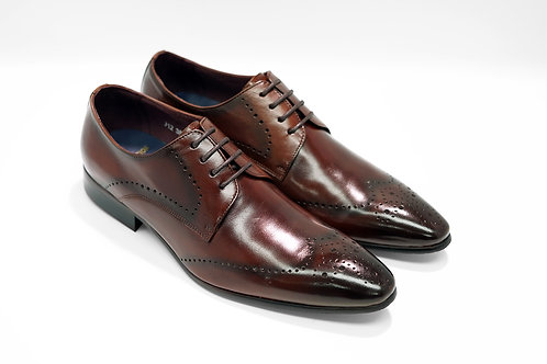 Maroon Calf Leather Brogue Derby J12