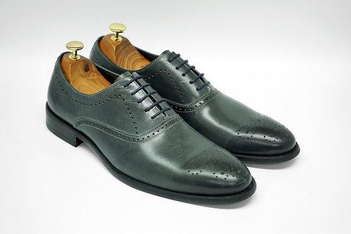 Grey Calf Leather Plain-toe Oxford