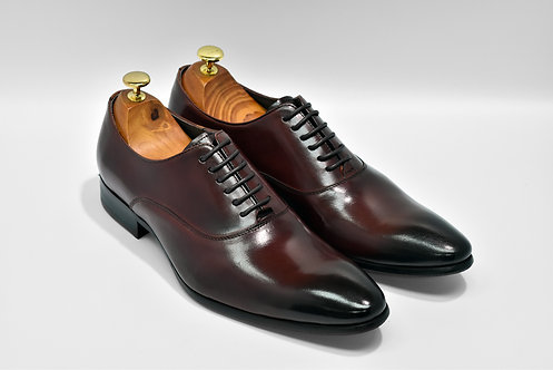 Maroon Calf Leather Plain-toe Oxford O08
