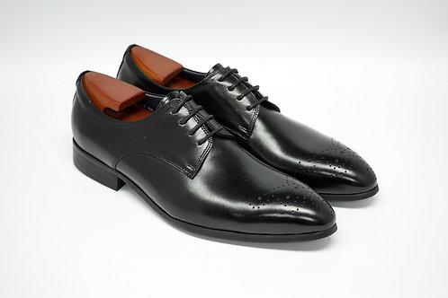 Black Calf Leather Plain-toe Derby