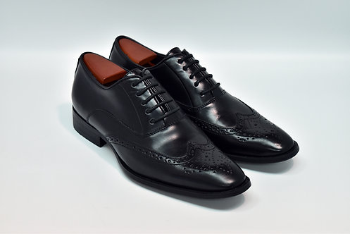 Black Soft Leather Wingtips Oxford H01