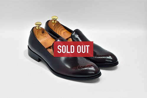 Maroon Waxed Calf Leather Medallion Loafers