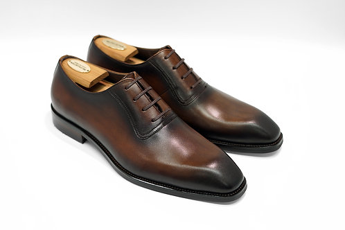 Coffe Patina Calf Leather Plain Chiseled Oxford T03