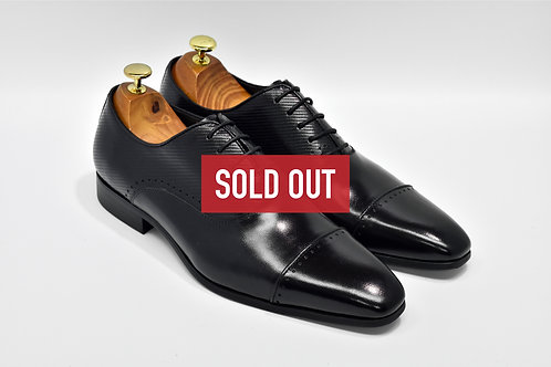 Black Calf Leather Cap-toe Oxford