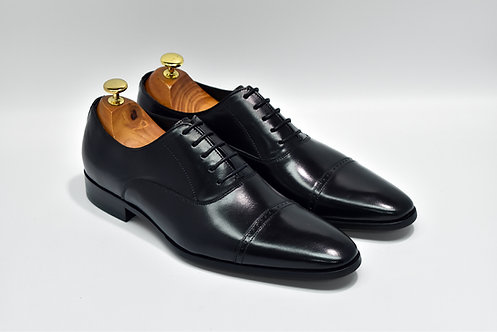 Black Calf Leather Cap-toe Oxford P01