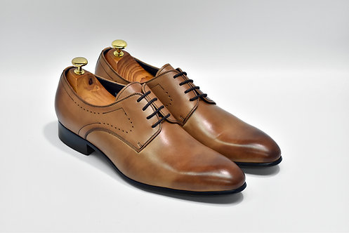 Brown Calf Leather Plain-toe Derby N08