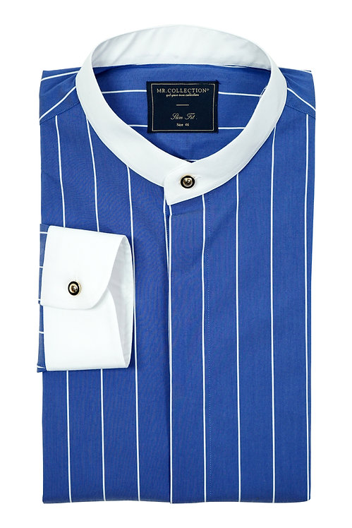 MTO White Band Collar&Cuff Blue Pin Stripe Shirt