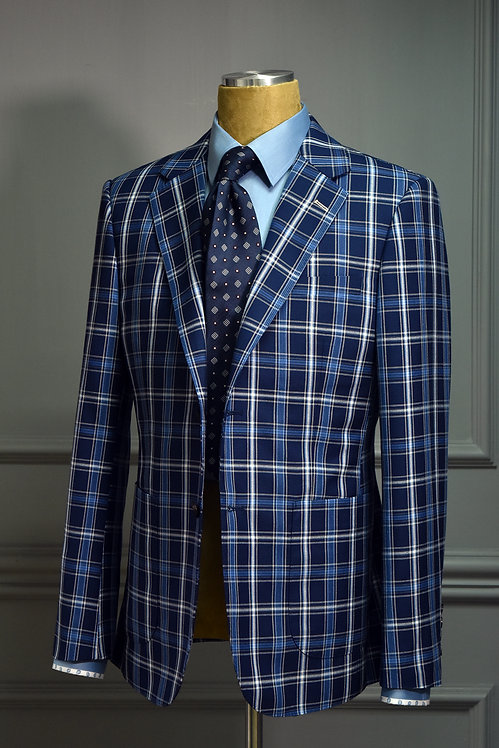 Navy&Blue Plaid Suit