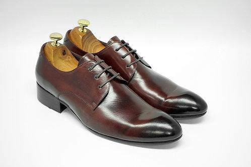 Maroon Calf Leather Plain-toe Derby