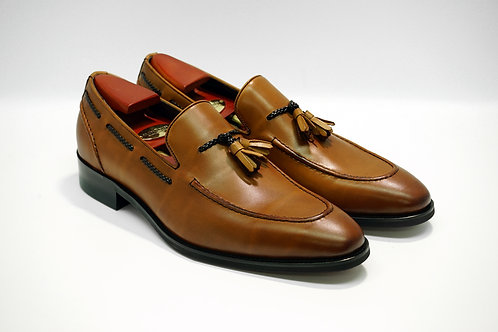 Brown Calf Leather Tassels Loafers  P09