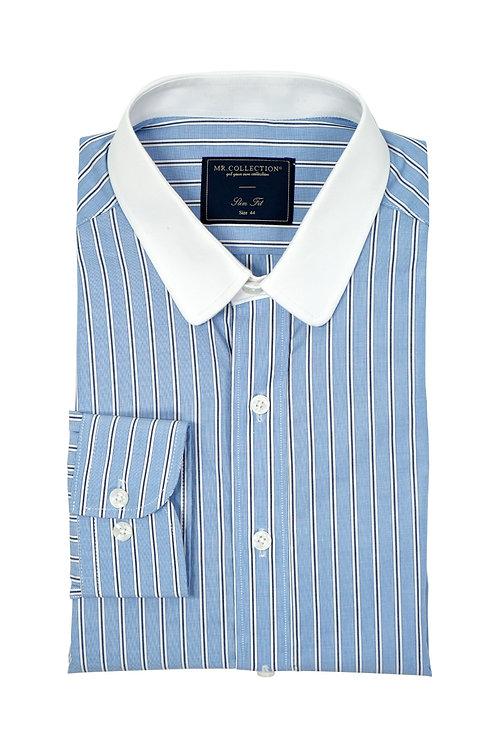 White Collar Blue Triple Stripes Shirt