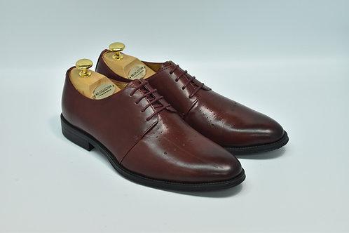 Maroon Calf Leather Plain-toe Derby I19