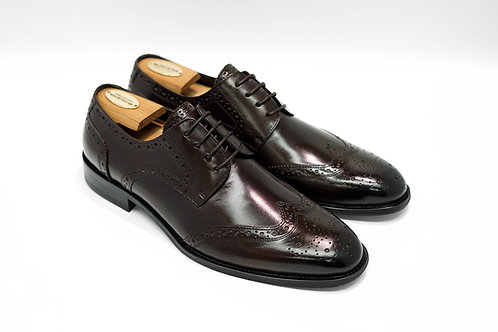 Maroon Calf Leather Brogue Derby T01