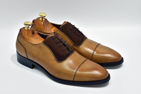Brown Mix Leather Cap-toe Oxford P02