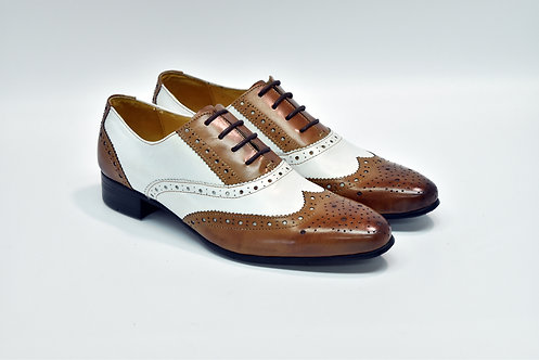 Ladies Brown&White Patent Leather Brogue Oxford H51