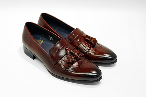 Ladies Maroon Calf Leather Kiltie Tassels Loafers LO03