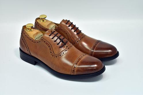 Brown Calf Leather Cap-toe Oxford H10