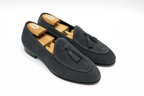 Grey Suede Tassels Belgian Loafers T05
