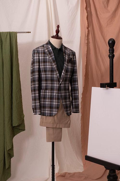Grey & Brown Plaid Jacket & Beige Trousers