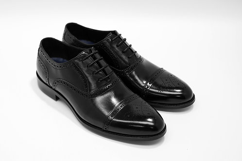 Ladies Black Calf Leather Semi-Brogue Oxford LO01