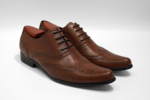Brown Soft Leather Brogue Oxford J03
