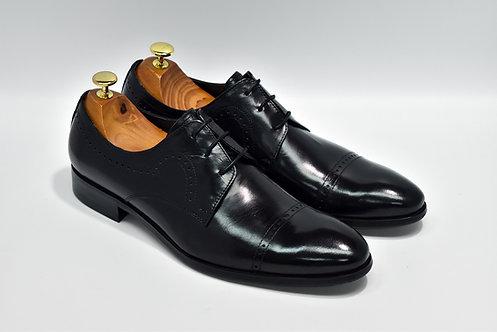 Black Calf Leather Cap-toe Oxford P06