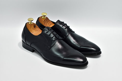 Black Soft Grain Leather Wingtip Derby R05