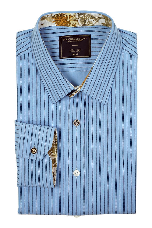 MTO Blue Beaded Stripe Shirt