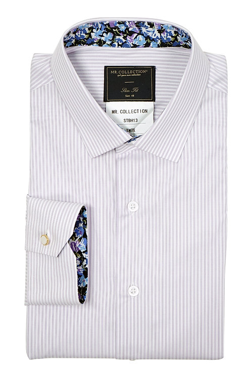 MTO Violet  Broken Stripe Shirt