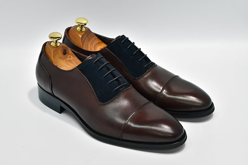 Maroon&Navy Mix Leather Cap-toe Oxford P02