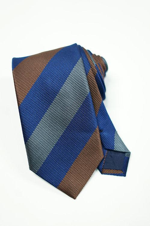 Brown, Navy & Grey Triple Stripe Woven Silk Tie