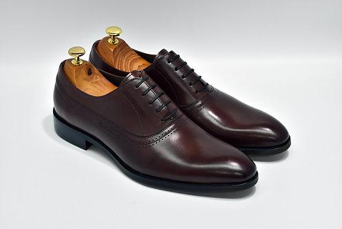 Maroon Calf Leather Plain-toe Oxford O08