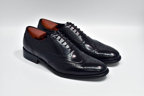 Black Calf Leather Brogue Oxford O03