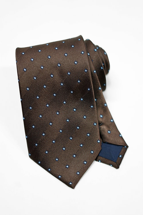 Coffee Woven Dot Silk Tie