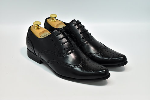 Black Soft Leather Brogues Oxford H02