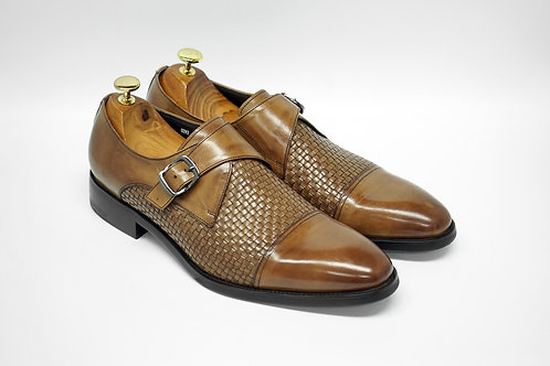 Brown Woven Calf Leather Cap-toe Monk