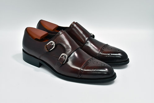 Maroon Calf Leather Cap-toe Double Monk R01/Q05